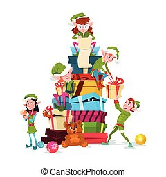 Christmas Elf Group Cartoon Character Santa Helper With Present Box Stack