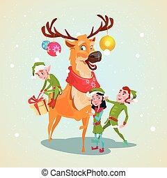 Christmas Elf Group Reindeer Cartoon Character Santa Helper...