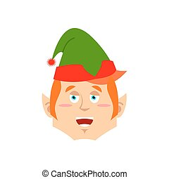 Christmas Elf happy Emoji. Santa helper merry emotion .