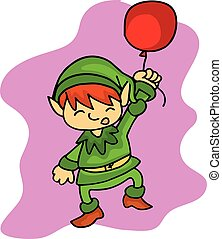 Christmas elf helper with balloon