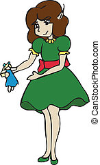 Christmas Elf Holding a Doll