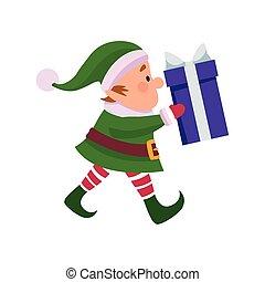 christmas elf holding a gift box