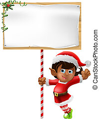 Christmas elf holding a sign - Cartoon woman or girl...
