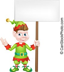 Christmas Elf Holding Sign