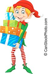 Christmas Elf, illustration - Christmas Elf Carrying a Stack...