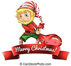 Christmas elf dragging his toys