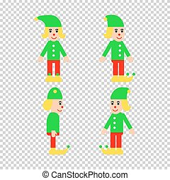 Christmas elf in different directions vector set