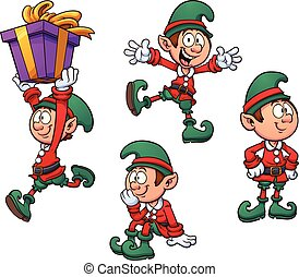 Christmas elf in different positions. Vector clip art...