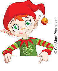 Clip art Illustration of a Christmas Elf Holding And Pointing Down To A Blank White Sign