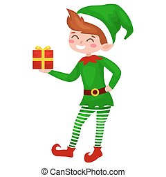 Christmas elf isolated with gifts in box in a green suit , assistant of Santa Claus, boy helper holding for happy new year