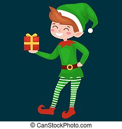 Christmas elf isolated with gifts in box in a green suit with, assistant of Santa Claus, boy helper holding gifts for happy new year