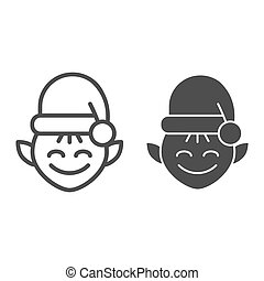 Christmas elf line and glyph icon. Santa elf vector illustration isolated on white. Santa s workshop outline style design, designed for web and app. Eps 10.
