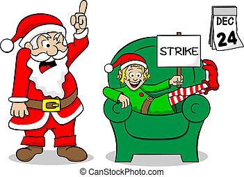christmas elf on strike - vector illustration of a christmas...