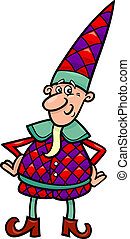 christmas elf or gnome cartoon - cartoon illustration of...