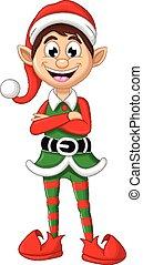 Christmas elf posing - vector illustration of Christmas elf...