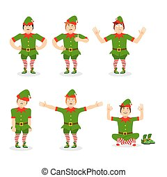 Christmas elf set of poses. Various movements assistant of Santa Claus. Surprised and sleep little man in green suit. XMAS yoga. Aggressive and good character for new year
