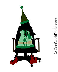 Christmas Elf Sitting In A Chair Silhouette Illustration - A...