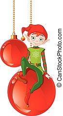 Christmas Elf Sitting On Ball - Christmas Elf sitting on...