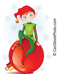 Christmas Elf sitting on Christmas ball