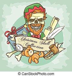 Christmas Elf Skull label design