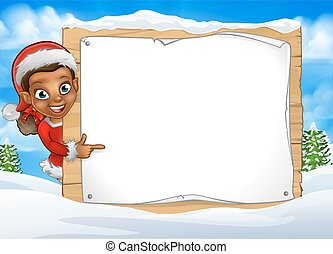 Christmas Elf Snow Scene Landscape Sign
