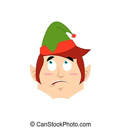Christmas Elf surprised Emoji. Santa helper astonished emotion .