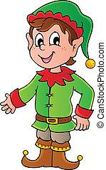 Christmas elf theme 1 - vector illustration.