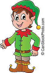 Christmas elf theme 1 - vector illustration.