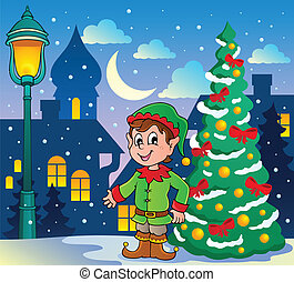 Christmas elf theme 2 - vector illustration.