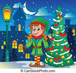 Christmas elf theme 6 - vector illustration.