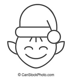 Christmas elf thin line icon. Santa elf vector illustration isolated on white. Santa s workshop outline style design, designed for web and app. Eps 10.