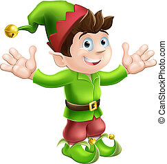 Christmas illustration of a cute happy Christmas Elf smiling and waving