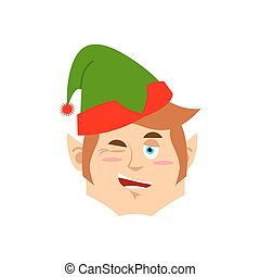 Christmas Elf winks Emoji. Santa helper emotion cheerful.