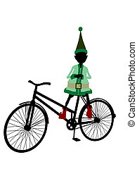Christmas Elf With A Bycycle Silhouette Illustration - A...