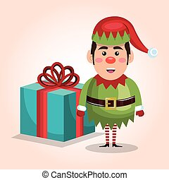 christmas elf with big gift isolated graphic