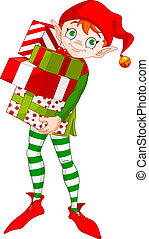 Christmas Elf with gifts - Christmas Elf holding a pile of...