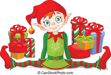 Christmas Elf sitting with a pile of gifts