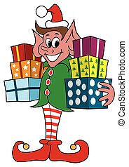 Christmas Elf With Presents