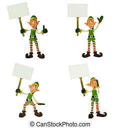 Christmas Elf with Signs Pack - Illustration of a pack of...
