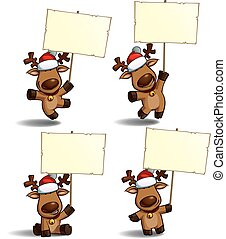 Set of a cartoon illustrations Christmas elk holding a placard in 4 poses-themes. Each pose on separate layer.