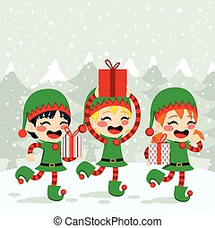 Christmas Elves Carrying Presents - Christmas Santa helpers...