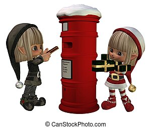Christmas Elves - posting presents
