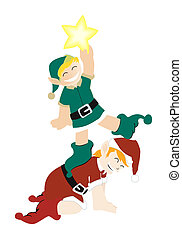 Christmas Elves and a Star with Clipping Path