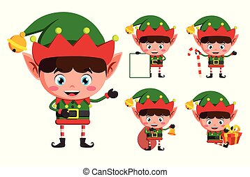 Christmas elves vector character set. Young boy elf cartoon characters