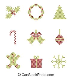 Christmas embroidered elements