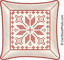 Christmas embroidered pillow - Vector pillow with...