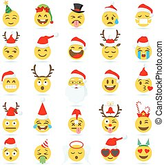 Christmas Emoticon vector emoji - Big Set of 25 high quality...