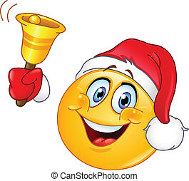 Emoticon with Santa hat ringing Christmas bell