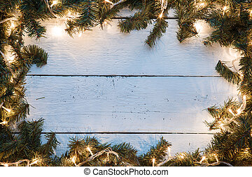 Christmas empty card with blue wooden texture illuminated...