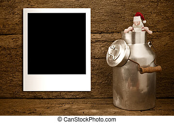 Christmas empty photo frame rustic card